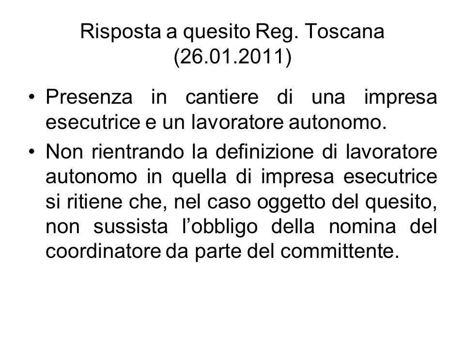 Risposta a quesito Reg. Toscana (26.01.2011)