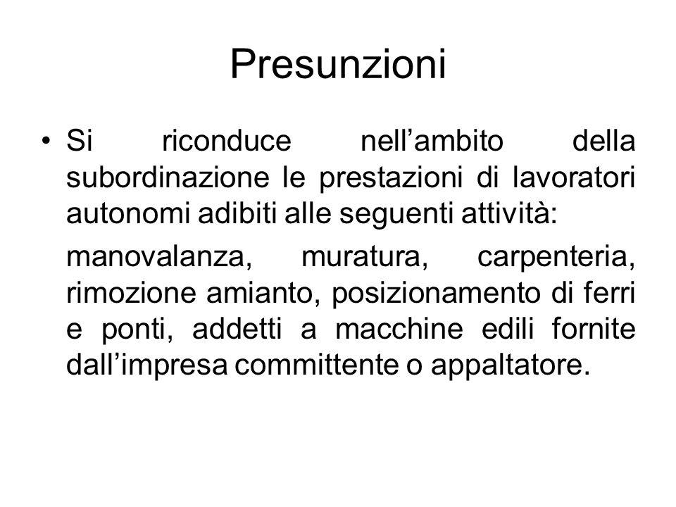 Presunzioni Si riconduce nell'ambito della subordinazione le prestazioni di lavoratori autonomi adibiti alle seguenti attività: