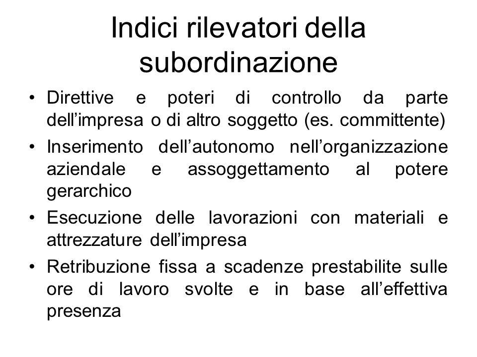 Indici rilevatori della subordinazione