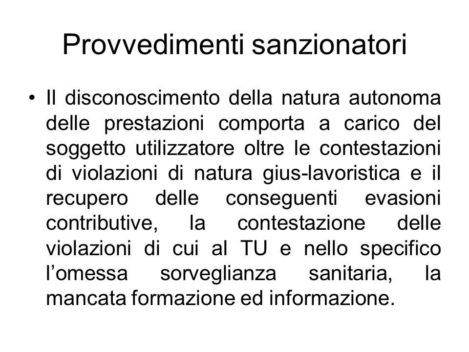 Provvedimenti sanzionatori