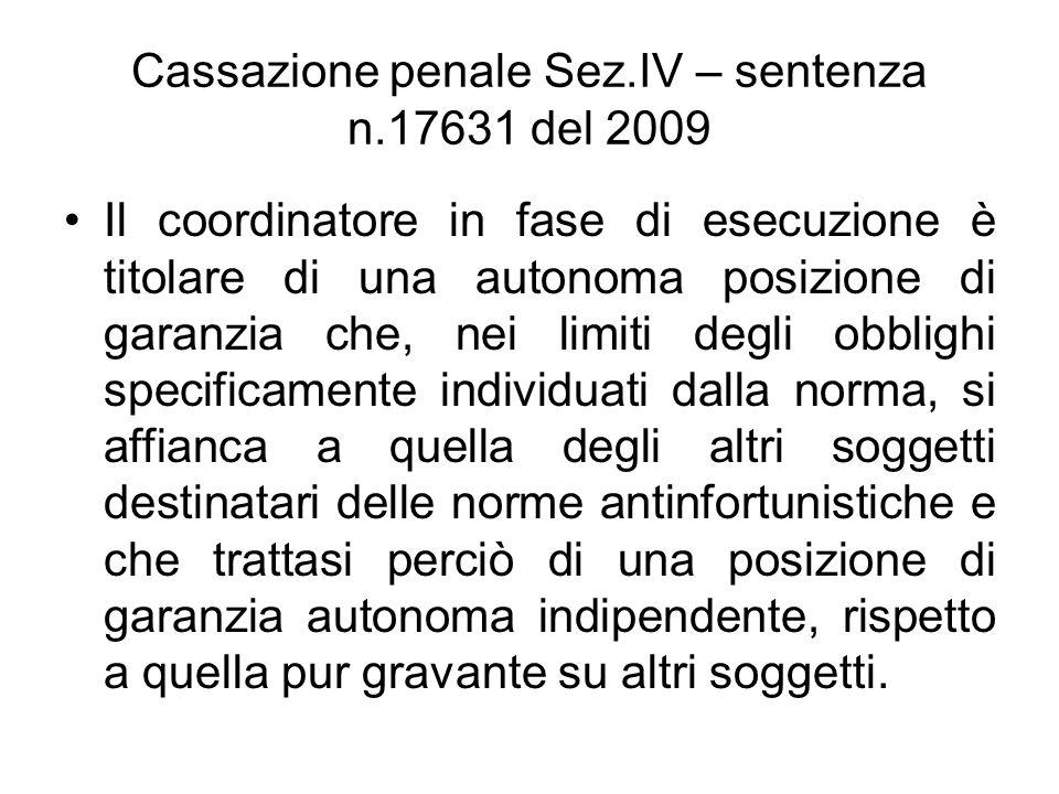 Cassazione penale Sez.IV – sentenza n.17631 del 2009