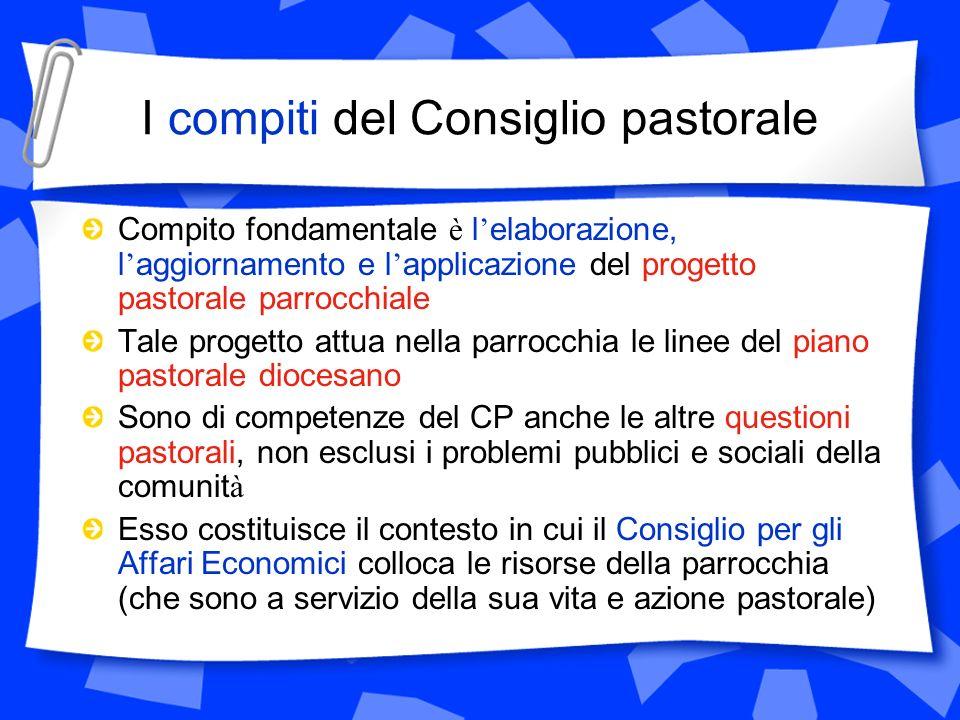 I compiti del Consiglio pastorale