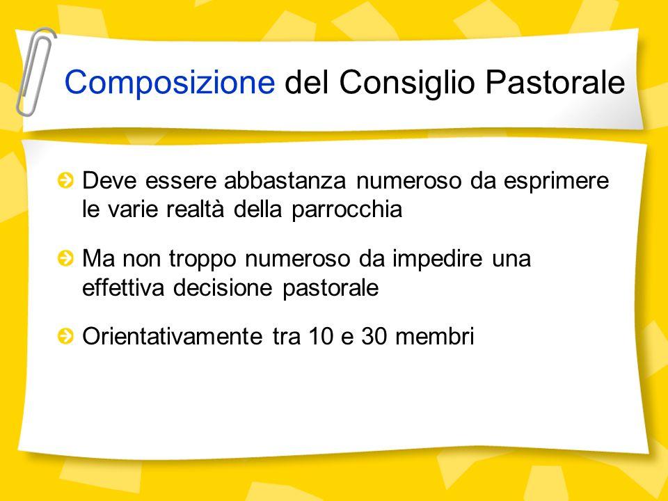 Composizione del Consiglio Pastorale