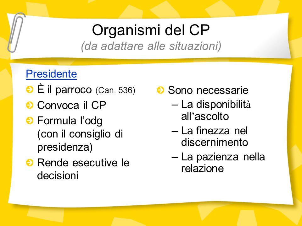Organismi del CP (da adattare alle situazioni)