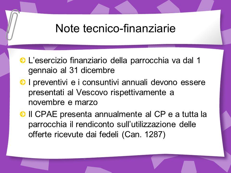 Note tecnico-finanziarie