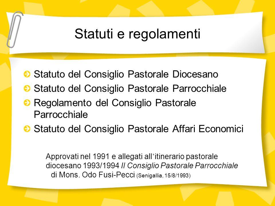Statuti e regolamenti Statuto del Consiglio Pastorale Diocesano