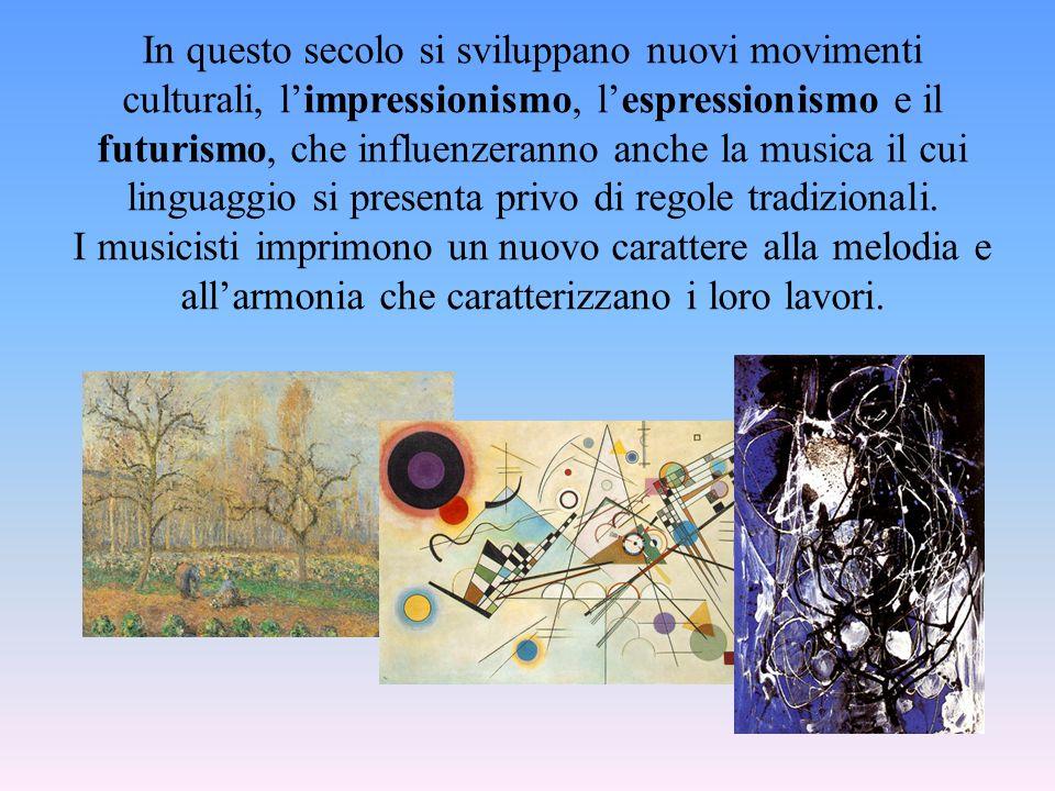 In questo secolo si sviluppano nuovi movimenti culturali, l'impressionismo, l'espressionismo e il futurismo, che influenzeranno anche la musica il cui linguaggio si presenta privo di regole tradizionali.