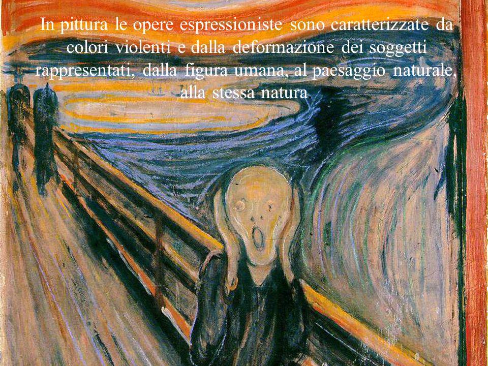 In pittura le opere espressioniste sono caratterizzate da colori violenti e dalla deformazione dei soggetti rappresentati, dalla figura umana, al paesaggio naturale, alla stessa natura.