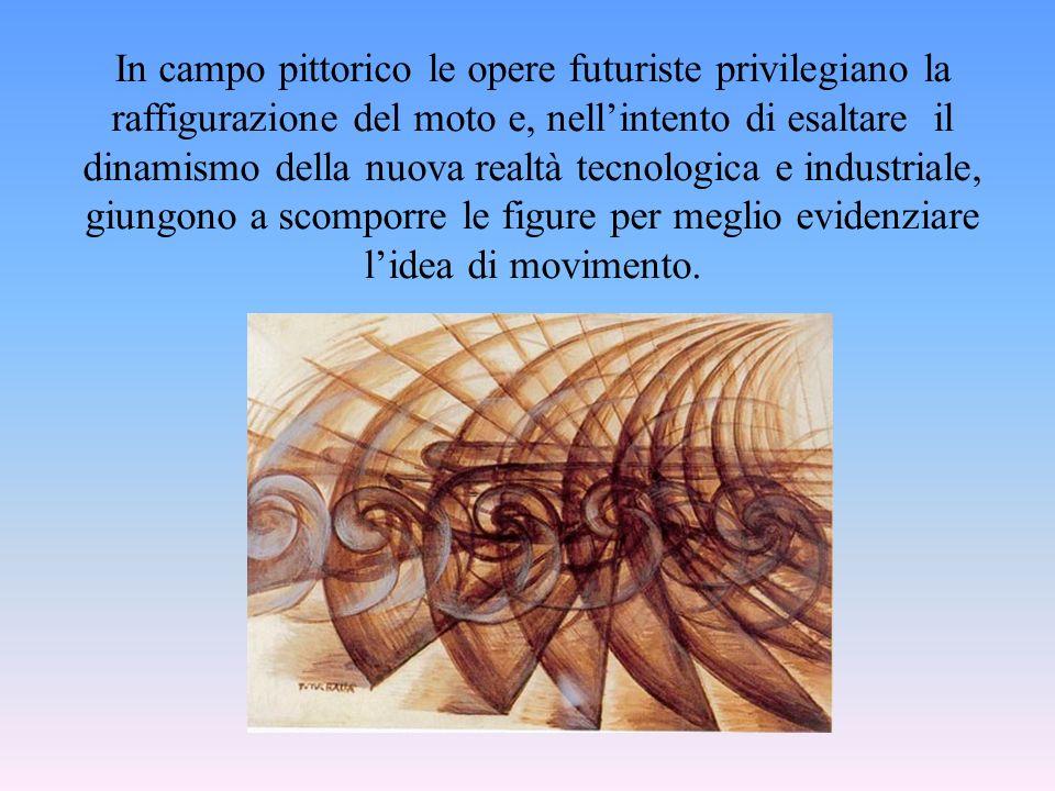 In campo pittorico le opere futuriste privilegiano la raffigurazione del moto e, nell'intento di esaltare il dinamismo della nuova realtà tecnologica e industriale, giungono a scomporre le figure per meglio evidenziare l'idea di movimento.