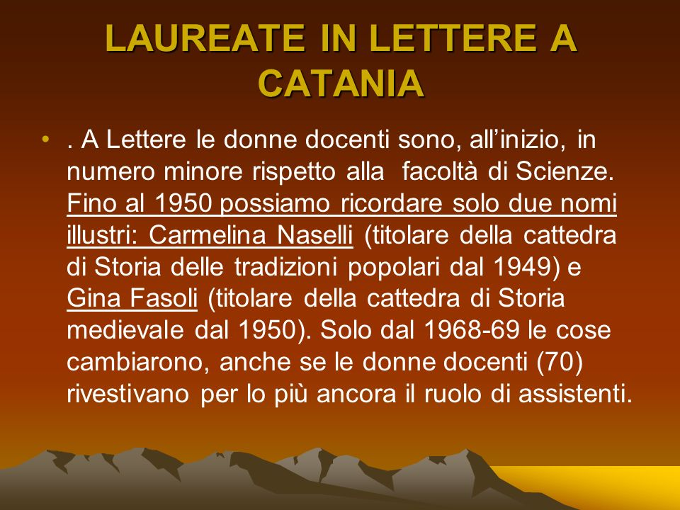 LAUREATE IN LETTERE A CATANIA