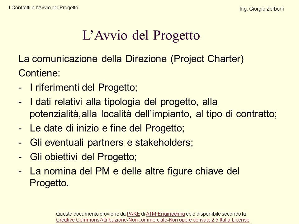 I Contratti e l'Avvio del Progetto