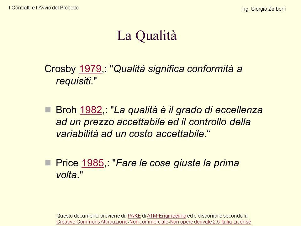 La Qualità Crosby 1979,: Qualità significa conformità a requisiti.