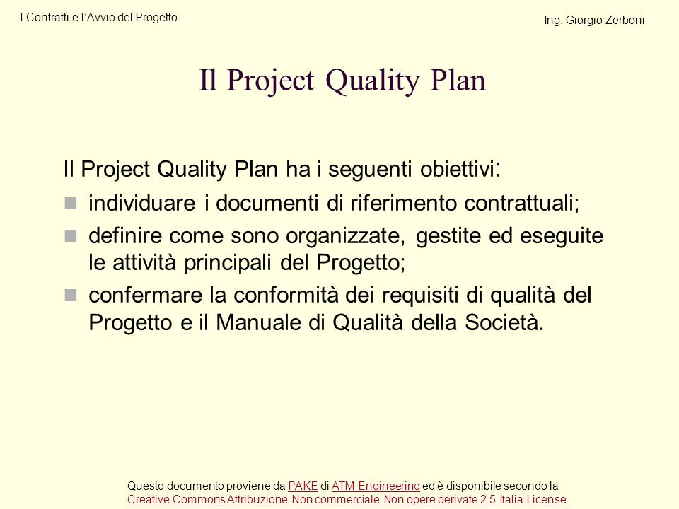 Il Project Quality Plan