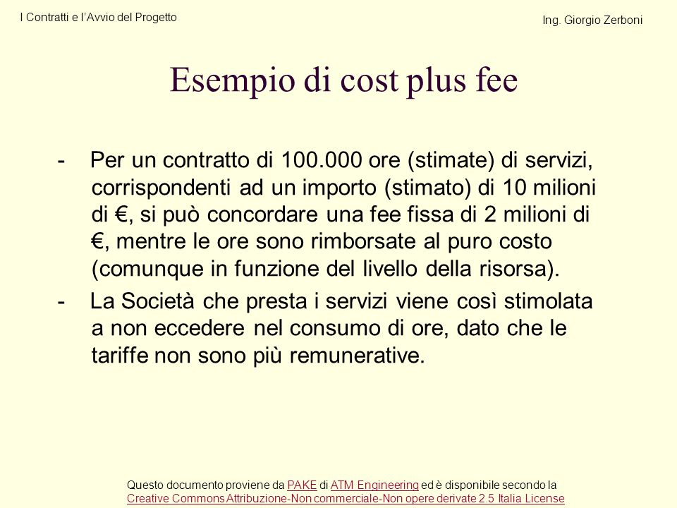 Esempio di cost plus fee