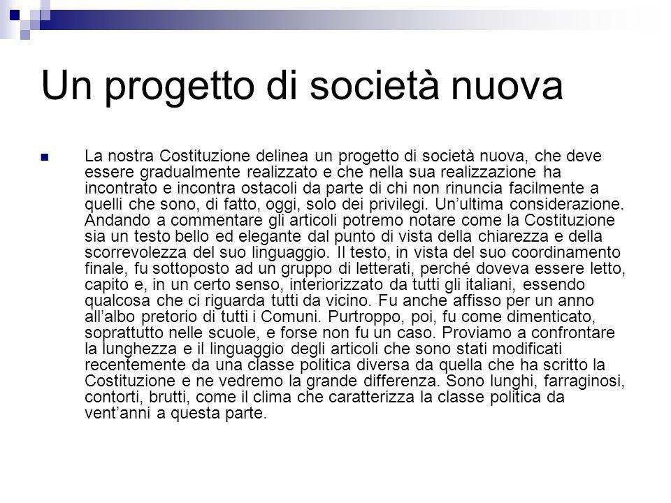 Un progetto di società nuova