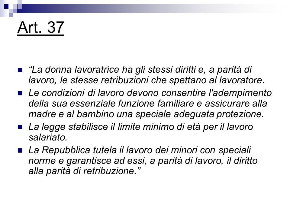 Art. 37 La donna lavoratrice ha gli stessi diritti e, a parità di lavoro, le stesse retribuzioni che spettano al lavoratore.