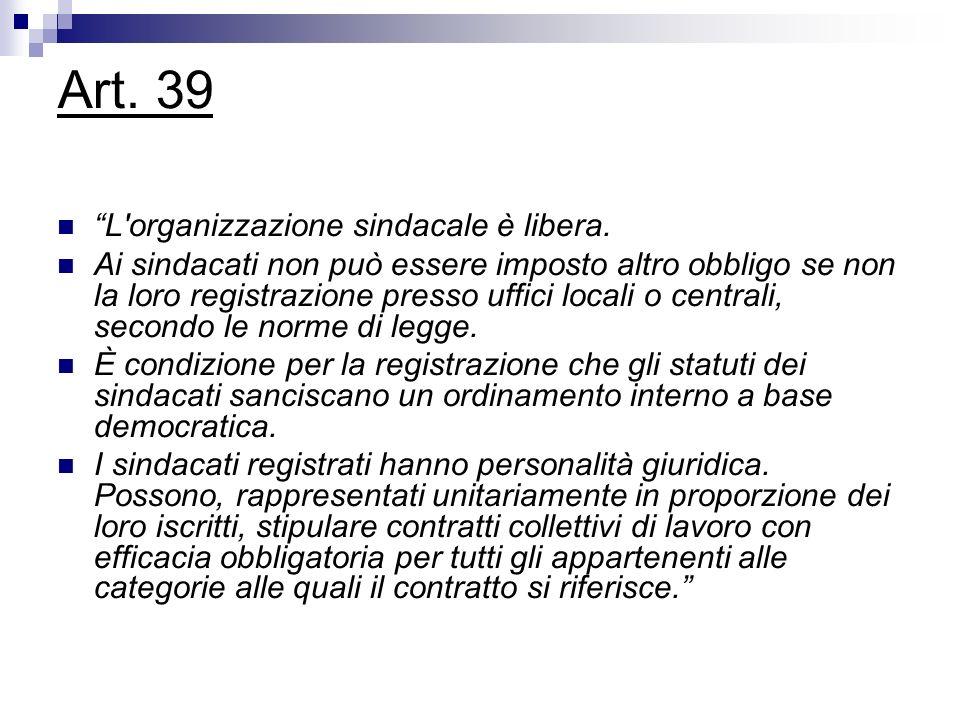 Art. 39 L organizzazione sindacale è libera.