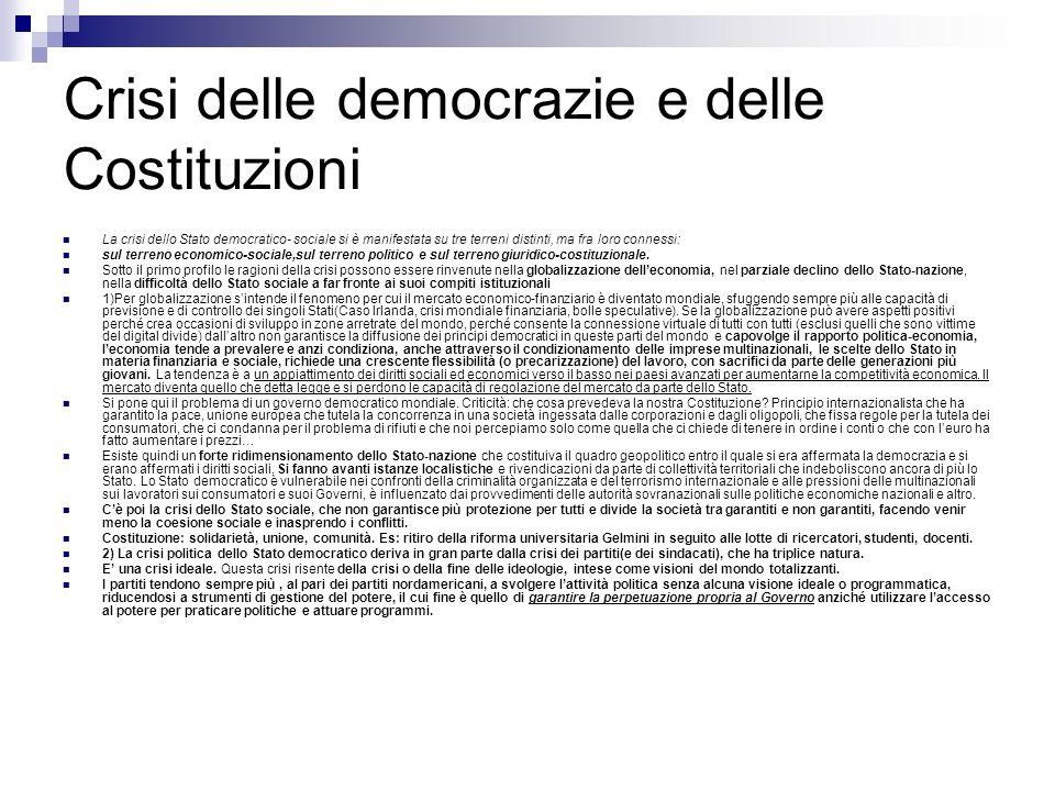 Crisi delle democrazie e delle Costituzioni
