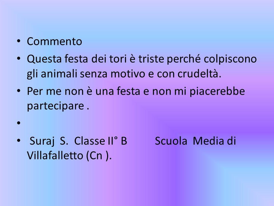 CommentoQuesta festa dei tori è triste perché colpiscono gli animali senza motivo e con crudeltà.