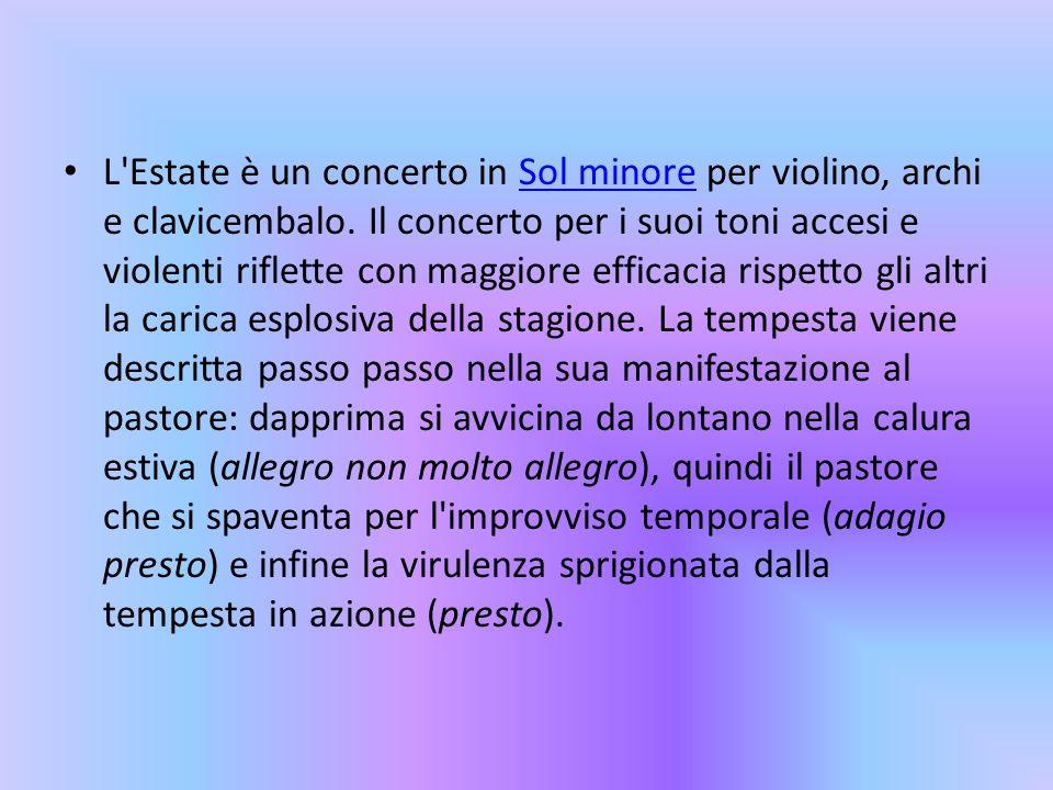 L Estate è un concerto in Sol minore per violino, archi e clavicembalo