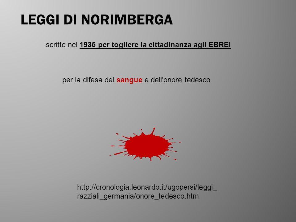 LEGGI DI NORIMBERGA scritte nel 1935 per togliere la cittadinanza agli EBREI. per la difesa del sangue e dell'onore tedesco.
