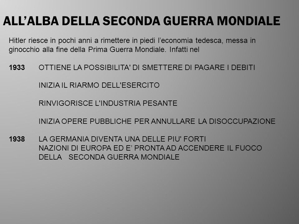 ALL'ALBA DELLA SECONDA GUERRA MONDIALE
