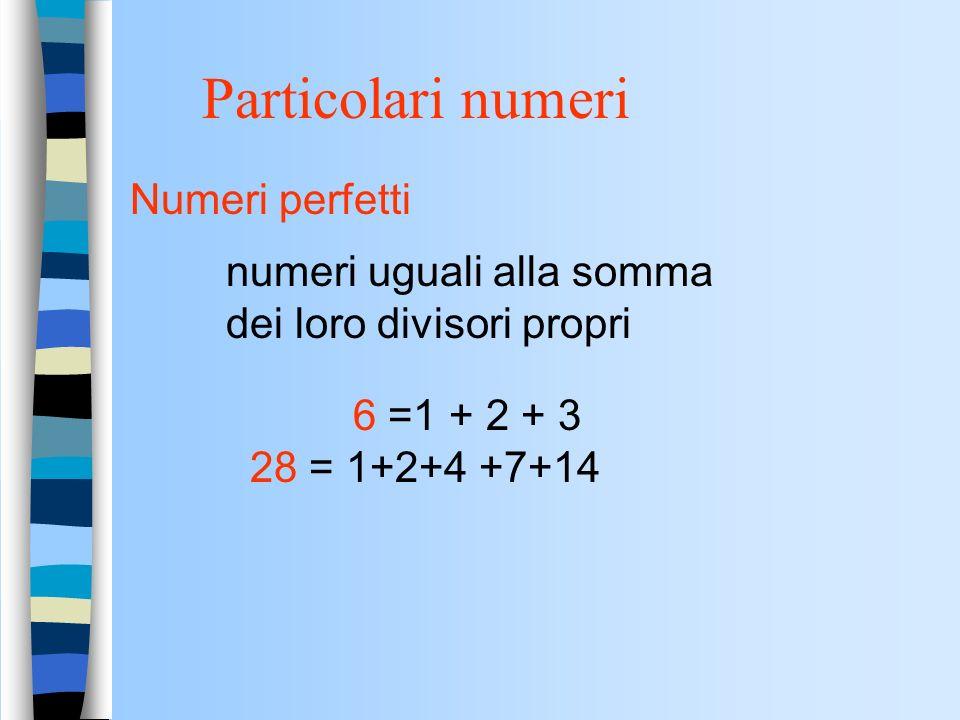 Particolari numeri Numeri perfetti
