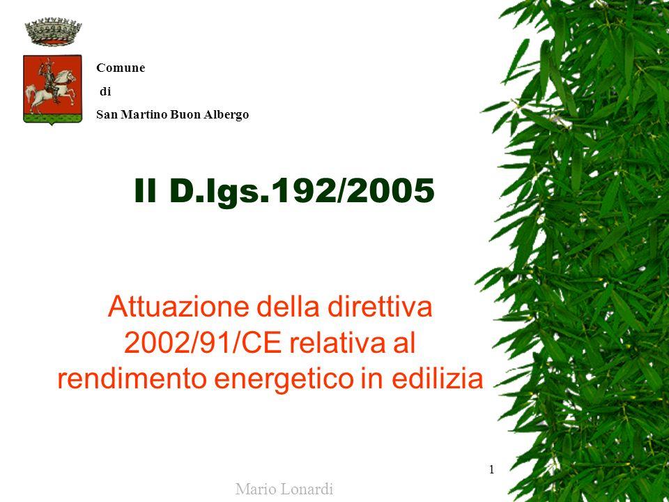 Comune di. San Martino Buon Albergo. Il D.lgs.192/2005. Attuazione della direttiva 2002/91/CE relativa al rendimento energetico in edilizia.