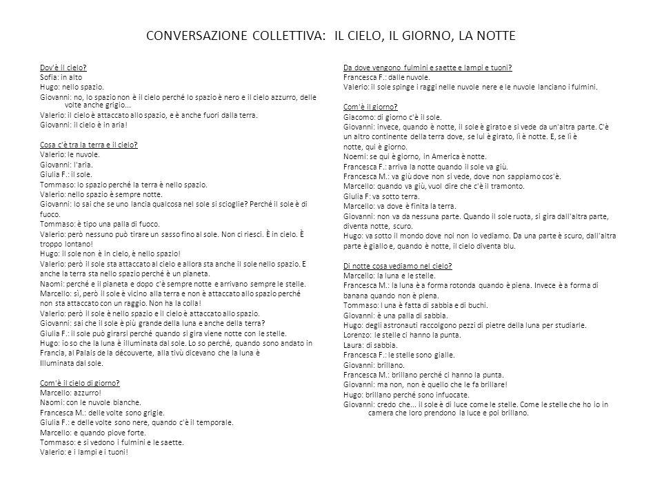 CONVERSAZIONE COLLETTIVA: IL CIELO, IL GIORNO, LA NOTTE