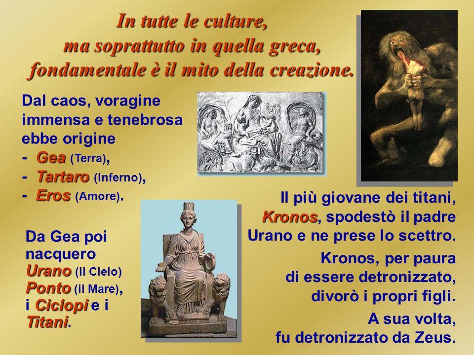 In tutte le culture, ma soprattutto in quella greca, fondamentale è il mito della creazione.