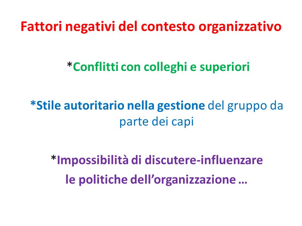 Fattori negativi del contesto organizzativo