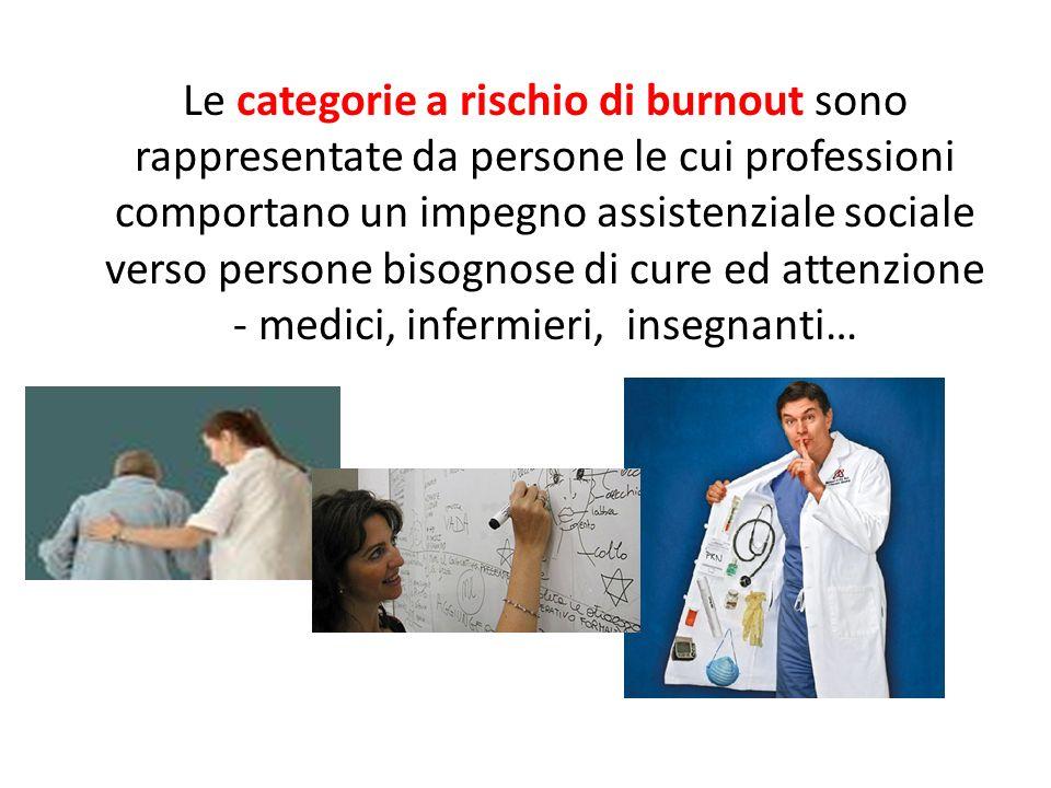 Le categorie a rischio di burnout sono rappresentate da persone le cui professioni comportano un impegno assistenziale sociale verso persone bisognose di cure ed attenzione - medici, infermieri, insegnanti…