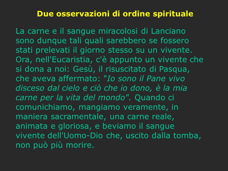 Due osservazioni di ordine spirituale