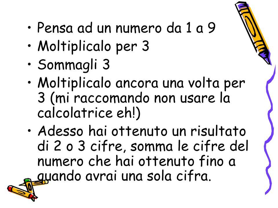 Pensa ad un numero da 1 a 9Moltiplicalo per 3. Sommagli 3. Moltiplicalo ancora una volta per 3 (mi raccomando non usare la calcolatrice eh!)
