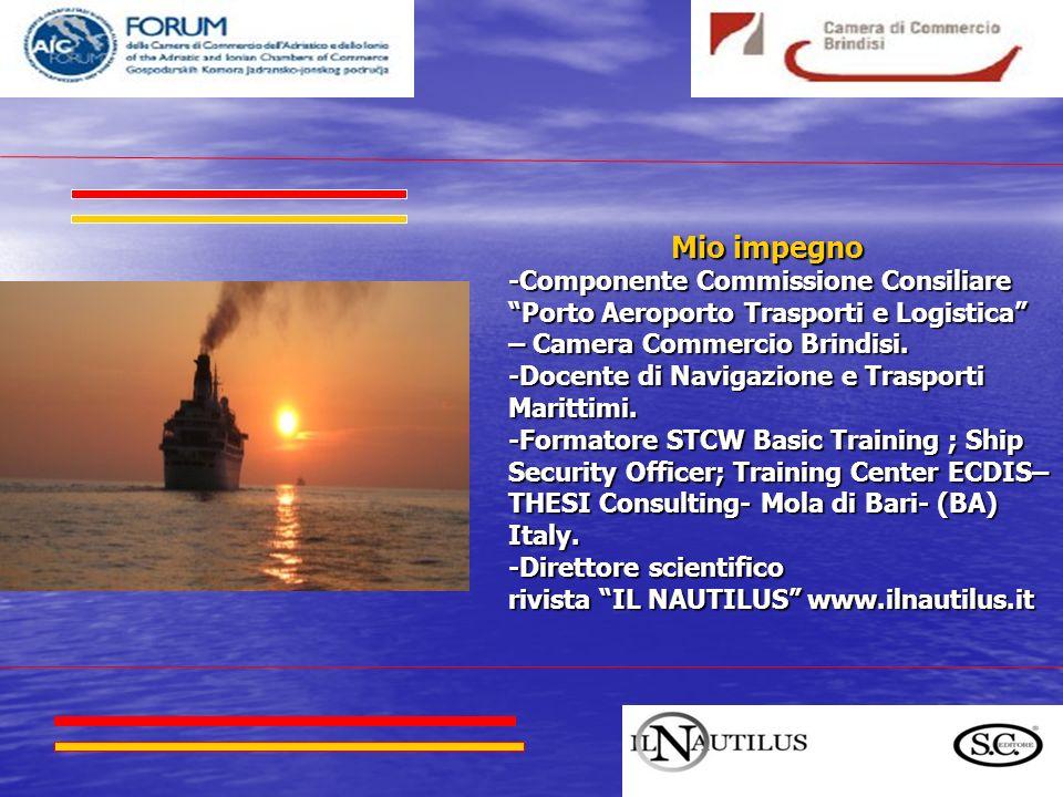 Mio impegno -Componente Commissione Consiliare Porto Aeroporto Trasporti e Logistica – Camera Commercio Brindisi.