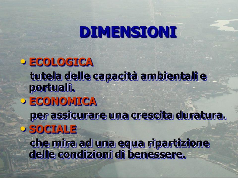 DIMENSIONI ECOLOGICA tutela delle capacità ambientali e portuali.