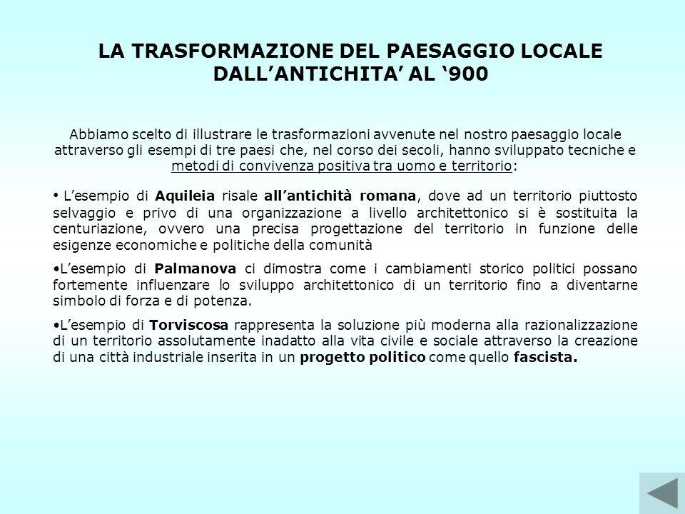 LA TRASFORMAZIONE DEL PAESAGGIO LOCALE DALL'ANTICHITA' AL '900