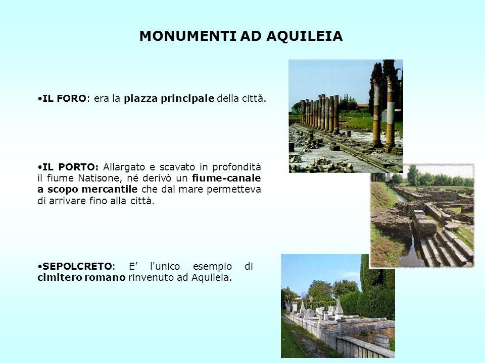 MONUMENTI AD AQUILEIA IL FORO: era la piazza principale della città.