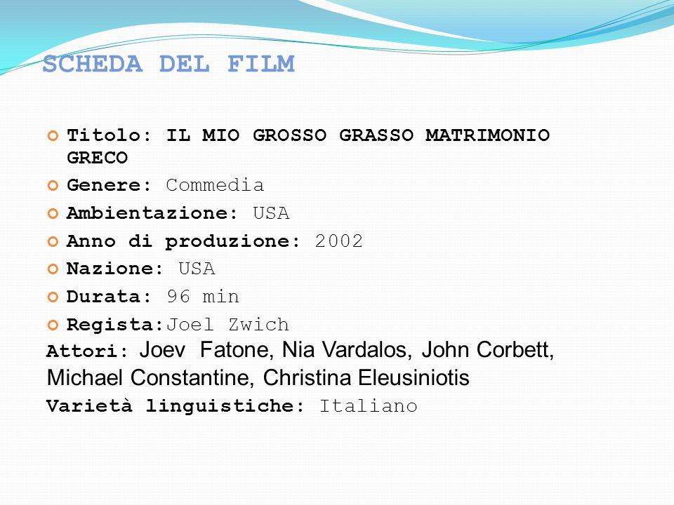 SCHEDA DEL FILM Titolo: IL MIO GROSSO GRASSO MATRIMONIO GRECO