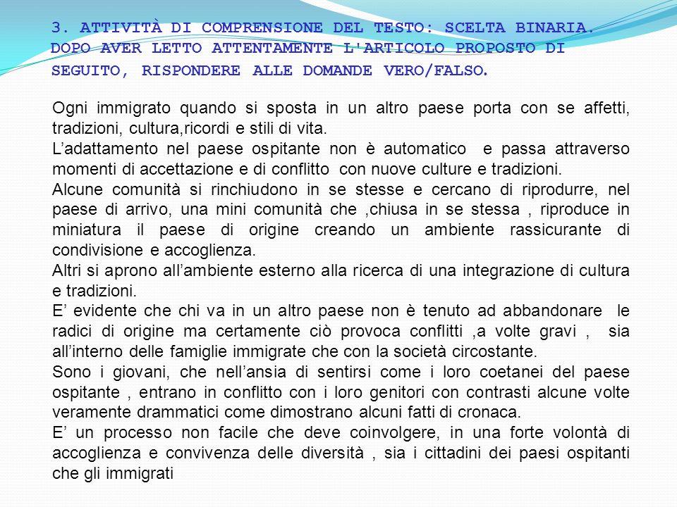 3. ATTIVITÀ DI COMPRENSIONE DEL TESTO: SCELTA BINARIA
