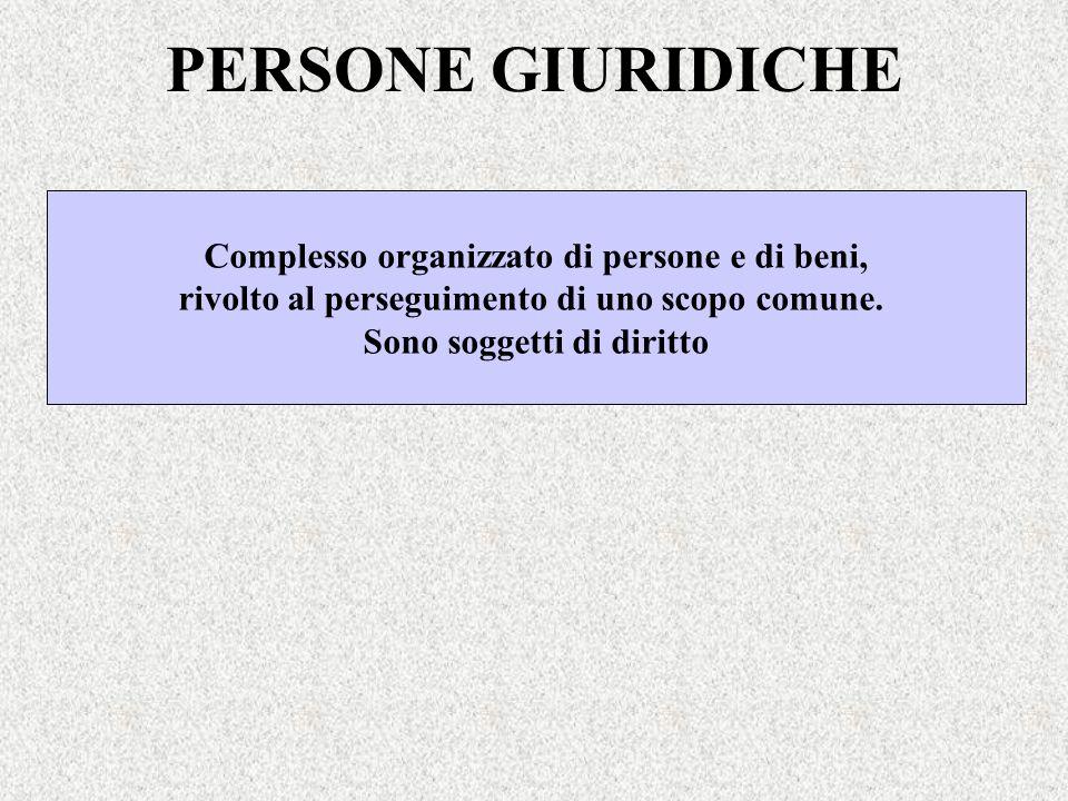 PERSONE GIURIDICHE Complesso organizzato di persone e di beni,