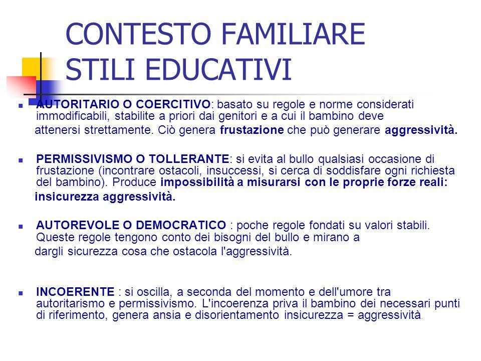 CONTESTO FAMILIARE STILI EDUCATIVI