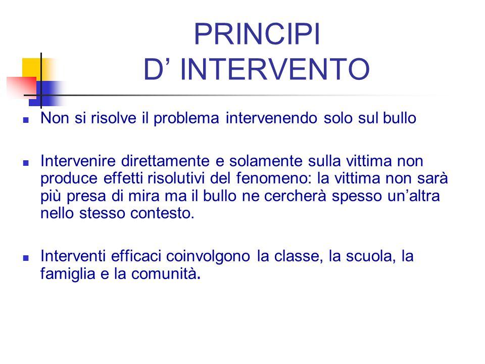 PRINCIPI D' INTERVENTO