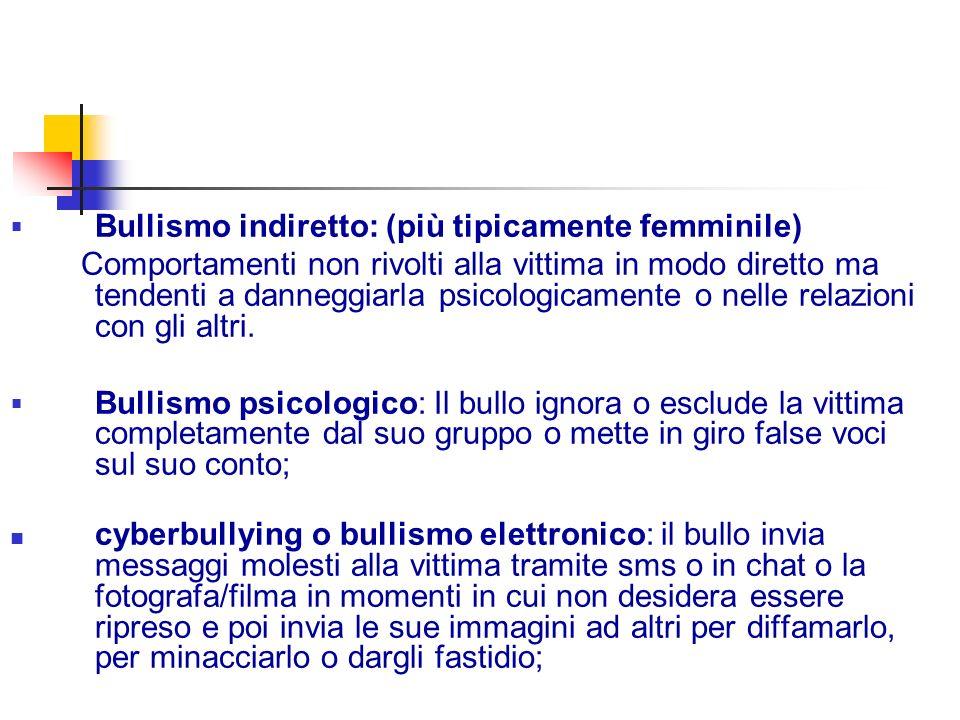 Bullismo indiretto: (più tipicamente femminile)