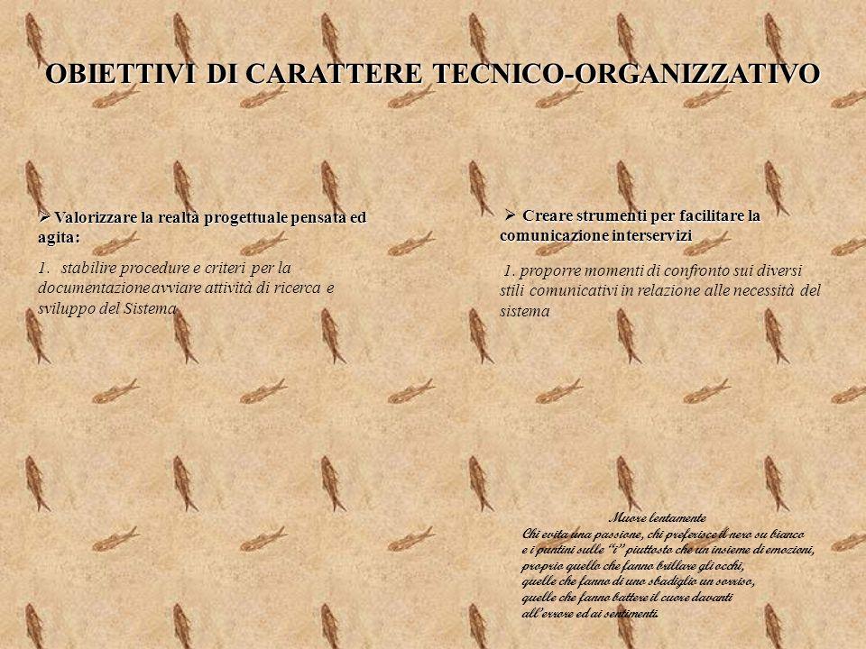 OBIETTIVI DI CARATTERE TECNICO-ORGANIZZATIVO