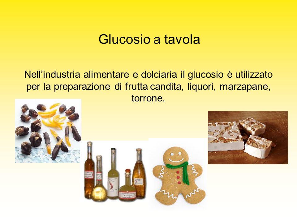 Glucosio a tavola Nell'industria alimentare e dolciaria il glucosio è utilizzato per la preparazione di frutta candita, liquori, marzapane, torrone.