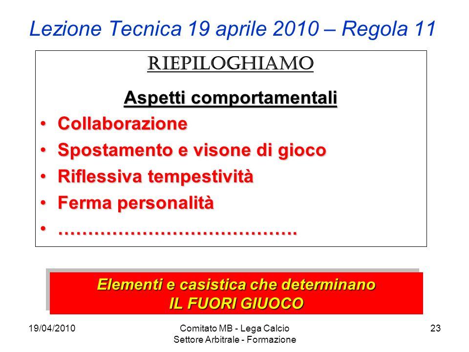 Lezione Tecnica 19 aprile 2010 – Regola 11