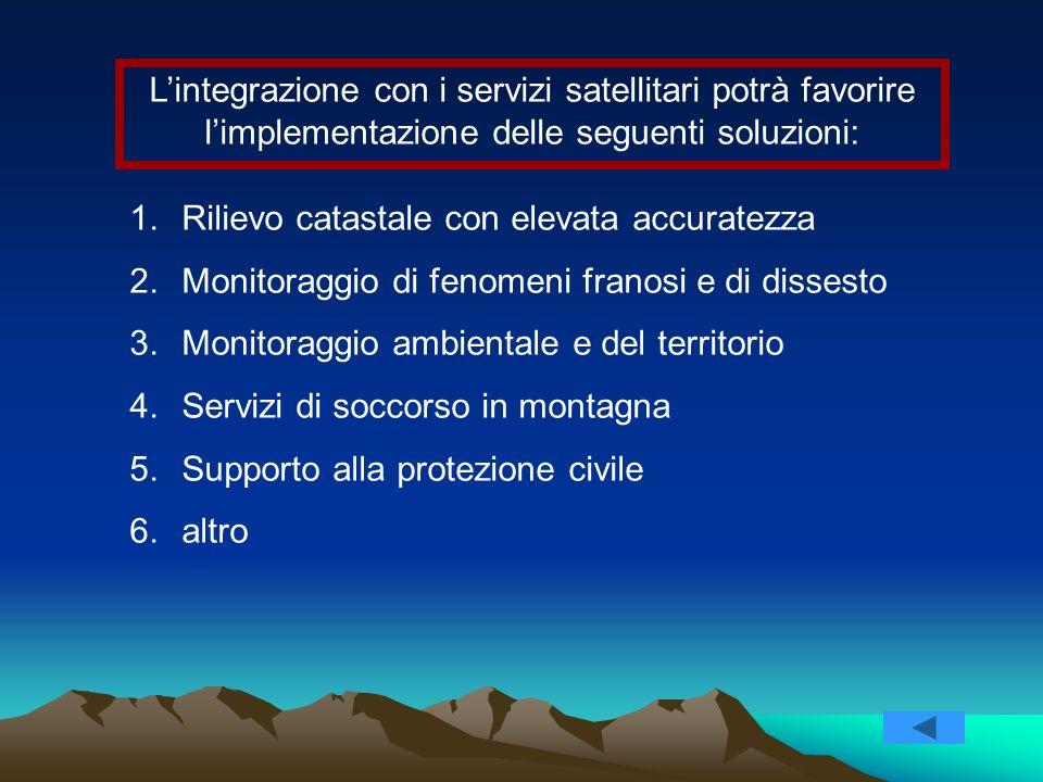 L'integrazione con i servizi satellitari potrà favorire l'implementazione delle seguenti soluzioni: