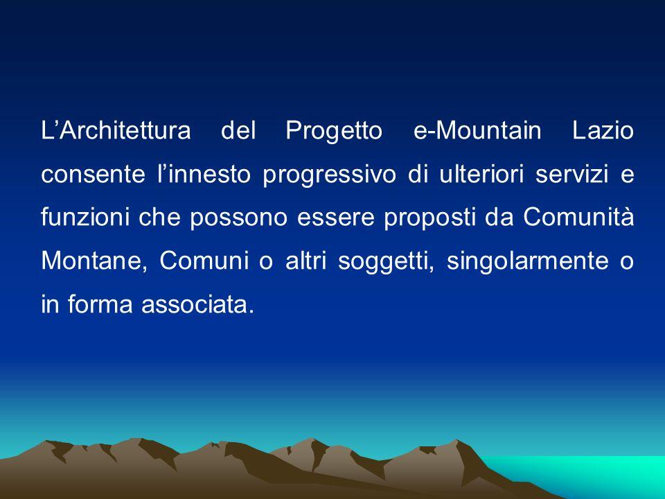 L'Architettura del Progetto e-Mountain Lazio consente l'innesto progressivo di ulteriori servizi e funzioni che possono essere proposti da Comunità Montane, Comuni o altri soggetti, singolarmente o in forma associata.