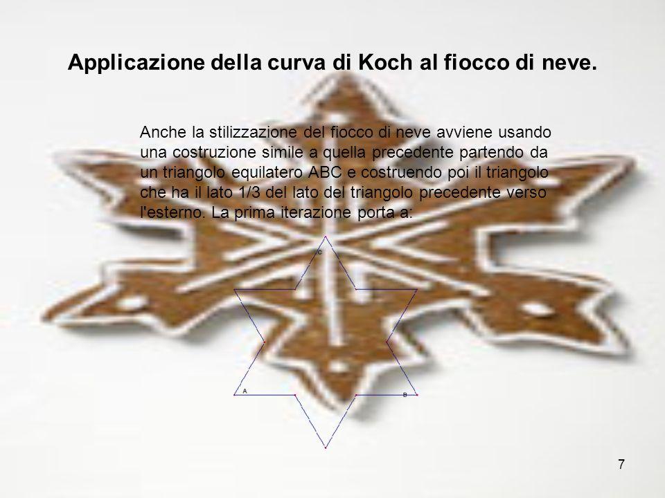 Applicazione della curva di Koch al fiocco di neve.